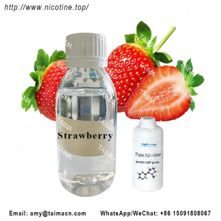 Concentrated strawberry flavor and nicotine liquid